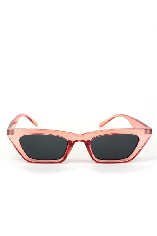 See Me Şeffaf Kemik Çerçeveli Küçük Çekik Cat Eye Güneş Gözlüğü Kırmızı