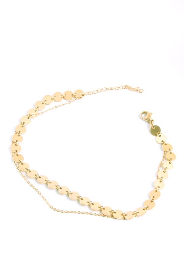 Shine Minik Pullu Zincir 2'li Halhal Gold