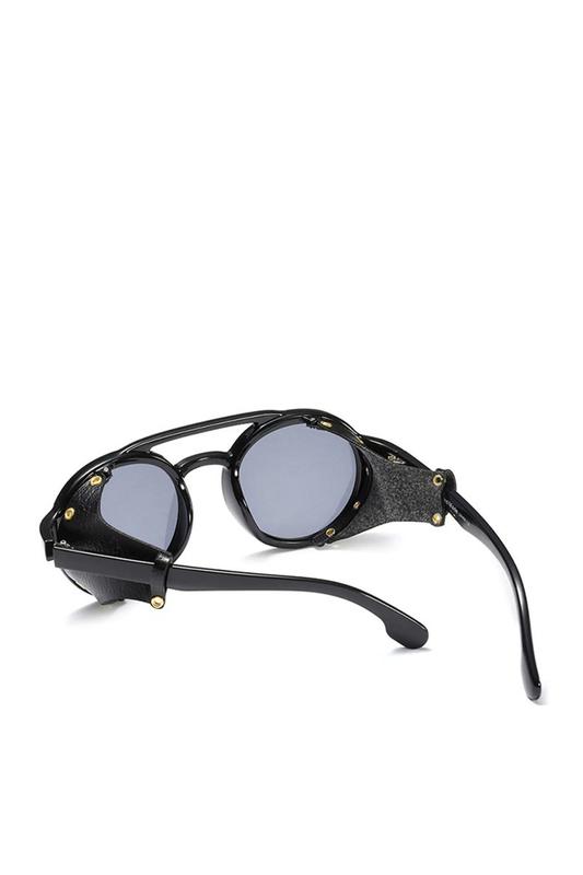 Shut Steampunk Derili Retro Yuvarlak Unisex Güneş Gözlüğü Siyah