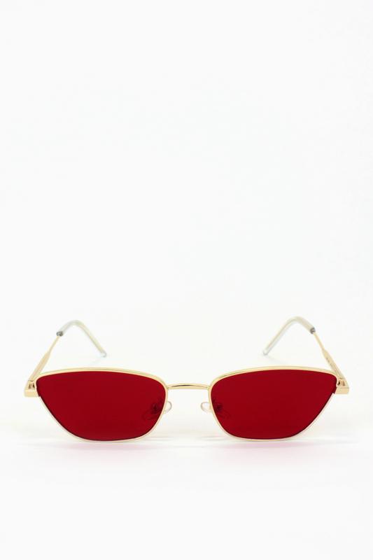 Silence Please Gold Metal Çerçeveli Küçük Cat Eye Unisex Güneş Gözlüğü Kırımızı