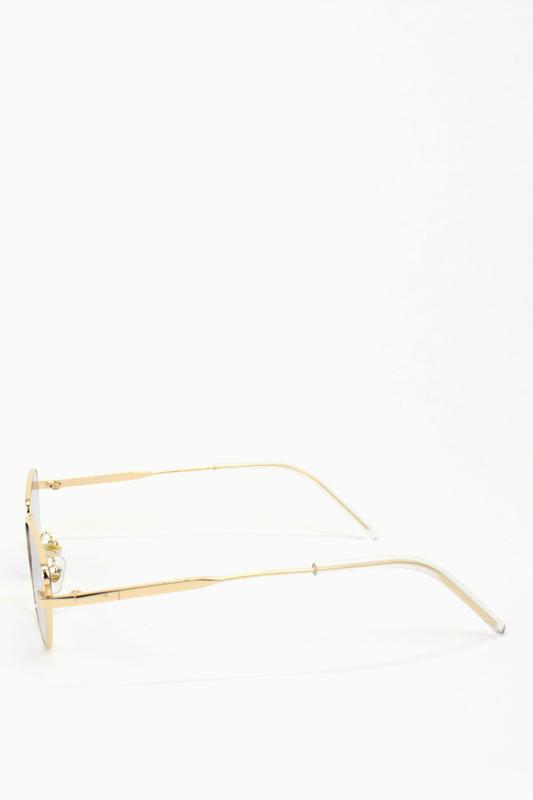 Silence Please Gold Metal Çerçeveli Küçük Cat Eye Unisex Güneş Gözlüğü Şeffaf Gri