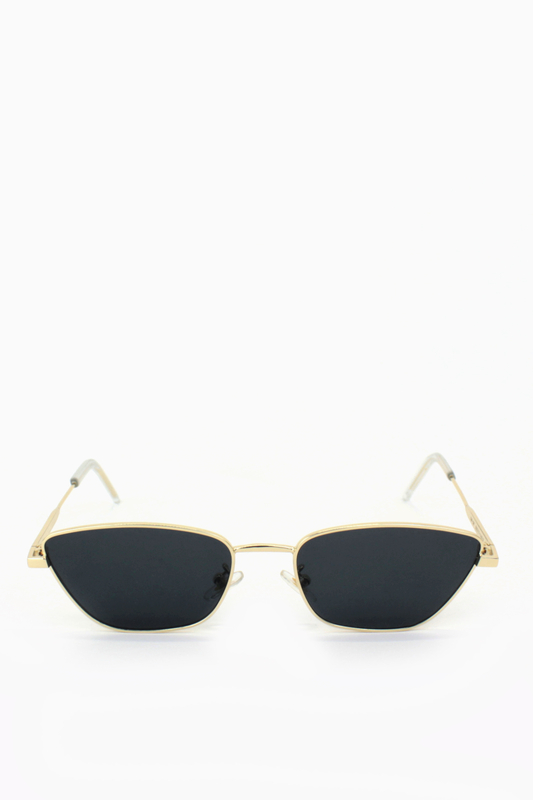 Silence Please Gold Metal Çerçeveli Küçük Cat Eye Unisex Güneş Gözlüğü Siyah