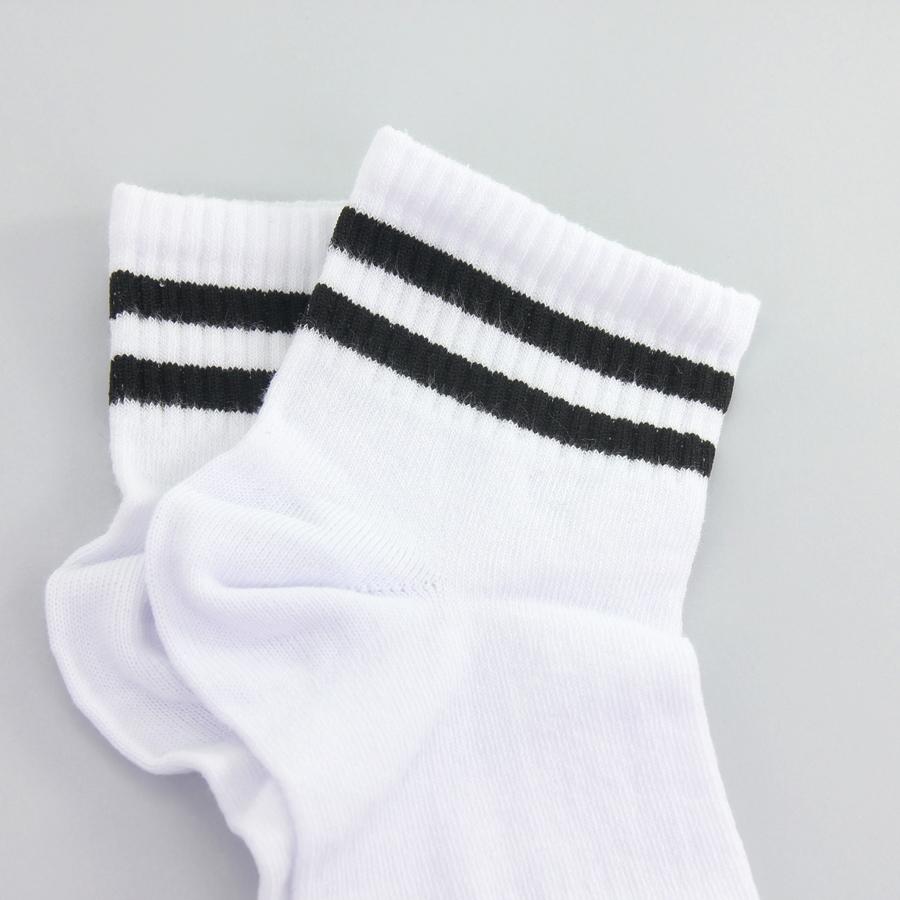 Siyah Çizgili Kısa Konç Koton Spor Çorap Beyaz