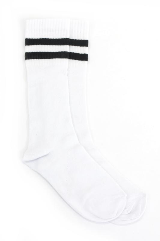 Siyah Çizgili Pamuklu Diz Altı Çocuk Çorabı Beyaz 2'li Paket
