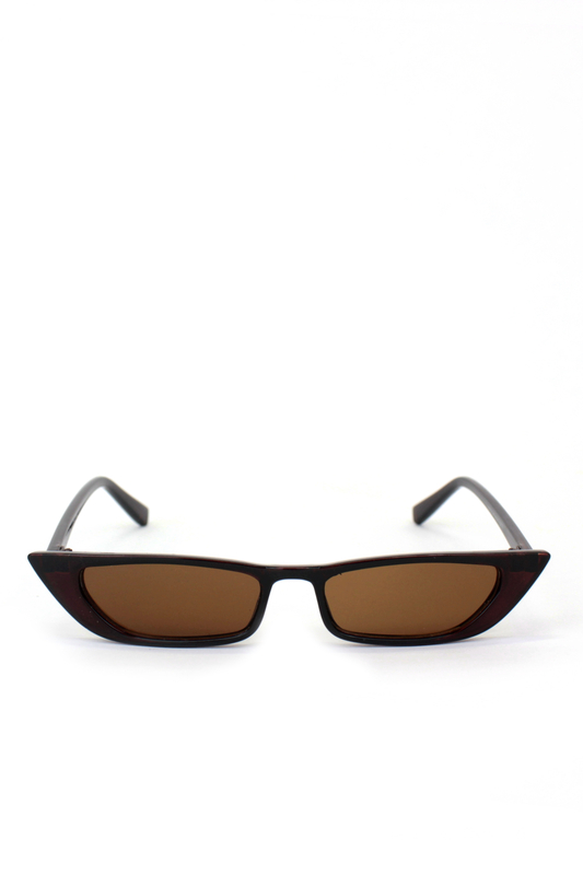 Slim Retro Kahverengi Camlı Küçük Dikdörtgen Güneş Gözlüğü Kahverengi