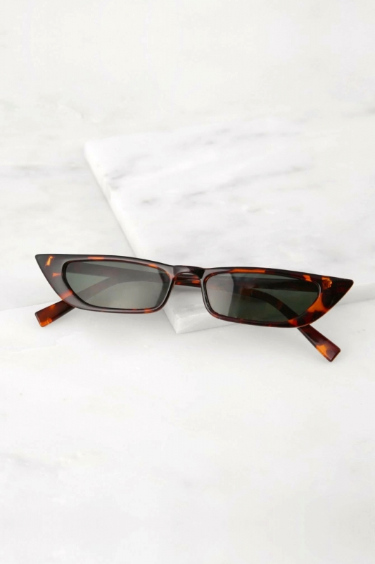 Slim Retro Kahverengi Camlı Küçük Dikdörtgen Güneş Gözlüğü Leopar