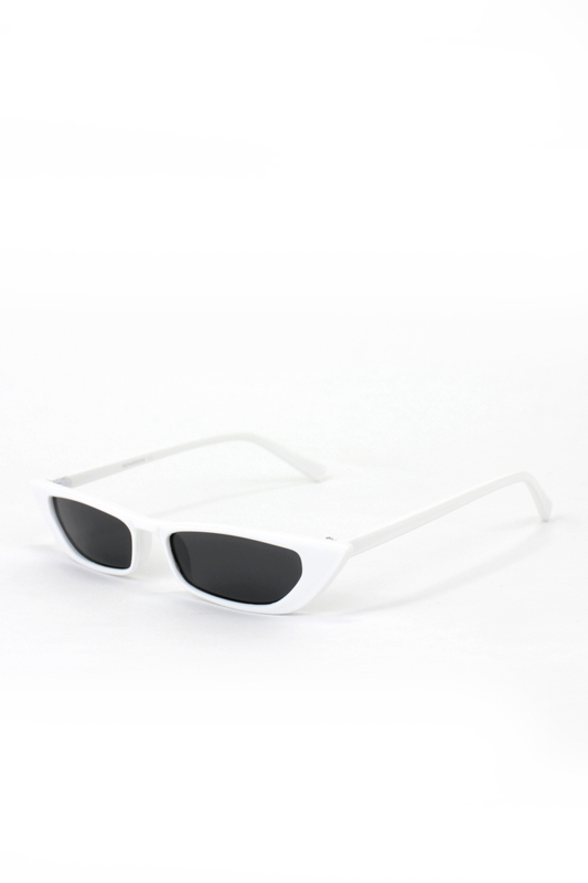 Slim Retro Küçük Dikdörtgen Güneş Gözlüğü Beyaz