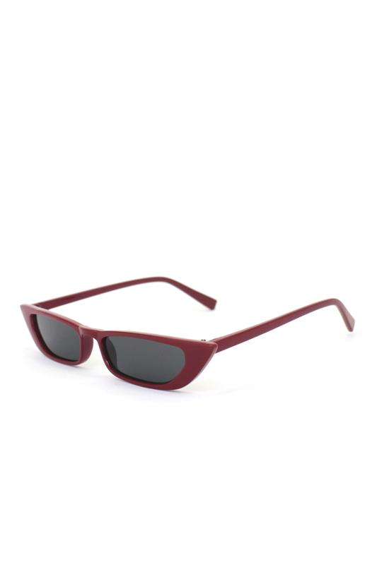 Slim Retro Küçük Dikdörtgen Güneş Gözlüğü Kırmızı