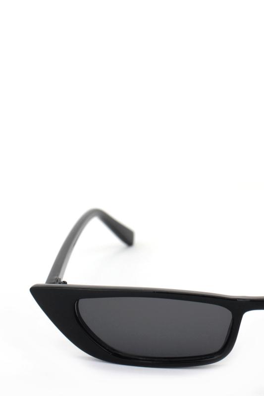 Slim Retro Küçük Dikdörtgen Güneş Gözlüğü Siyah