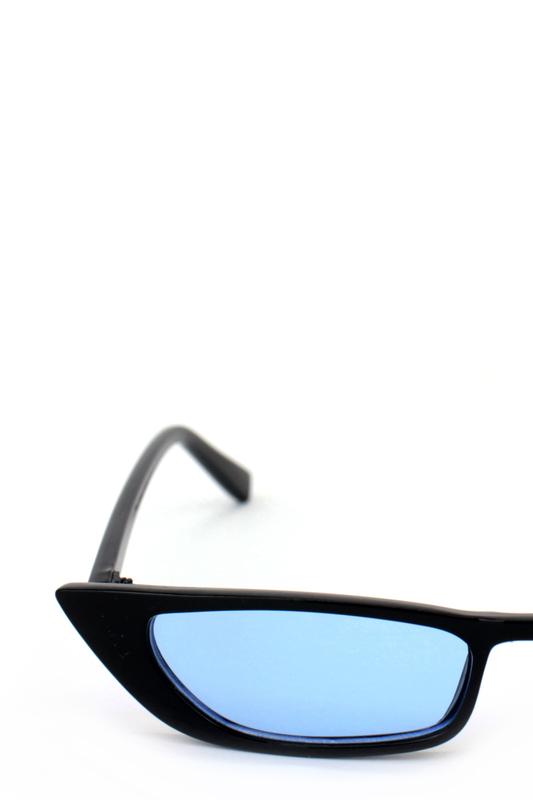 Slim Retro Mavi Camlı Küçük Dikdörtgen Güneş Gözlüğü Siyah