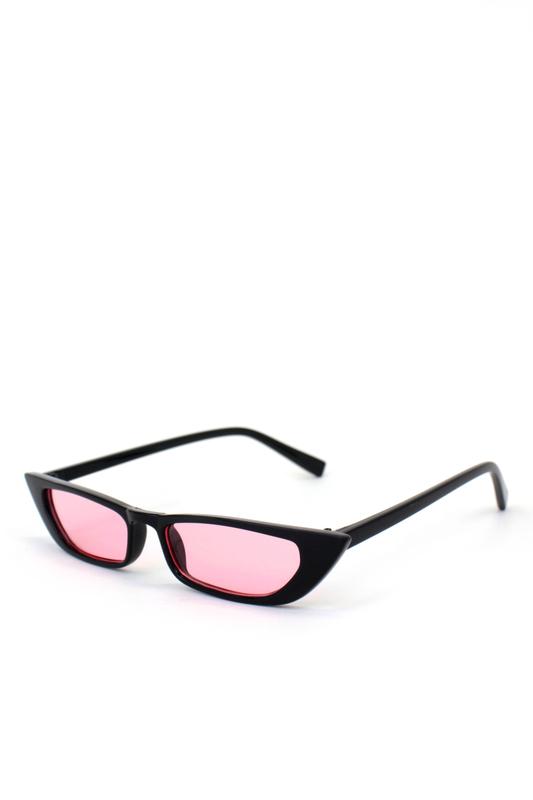 Slim Retro Pembe Camlı Küçük Dikdörtgen Güneş Gözlüğü Siyah