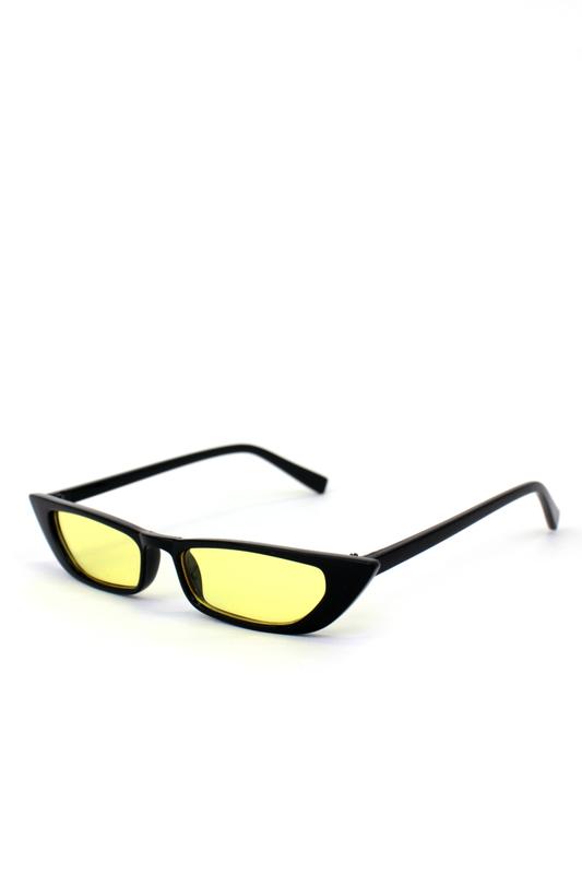 Slim Retro Sarı Camlı Küçük Dikdörtgen Güneş Gözlüğü Siyah