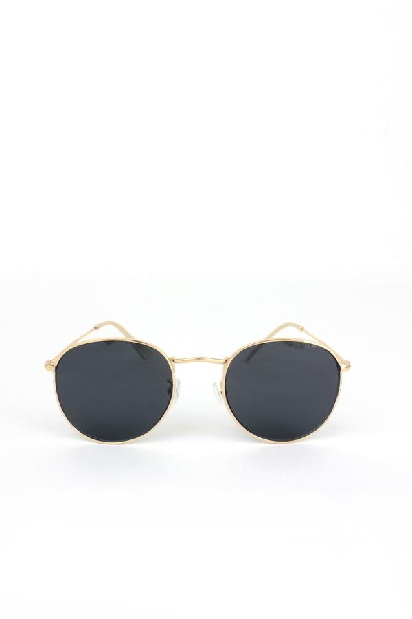 So Moody Gold Metal Çerçeveli Küçük Yuvarlak Unisex Güneş Gözlüğü Siyah