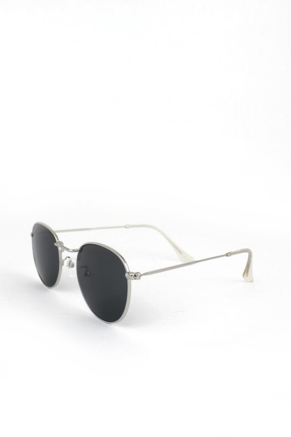 So Moody Silver Metal Çerçeveli Küçük Yuvarlak Unisex Güneş Gözlüğü Siyah