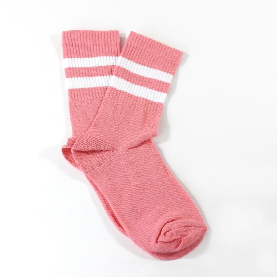 Sporty Beyaz Çizgili Kısa Koton Spor Çorap Açık Pembe