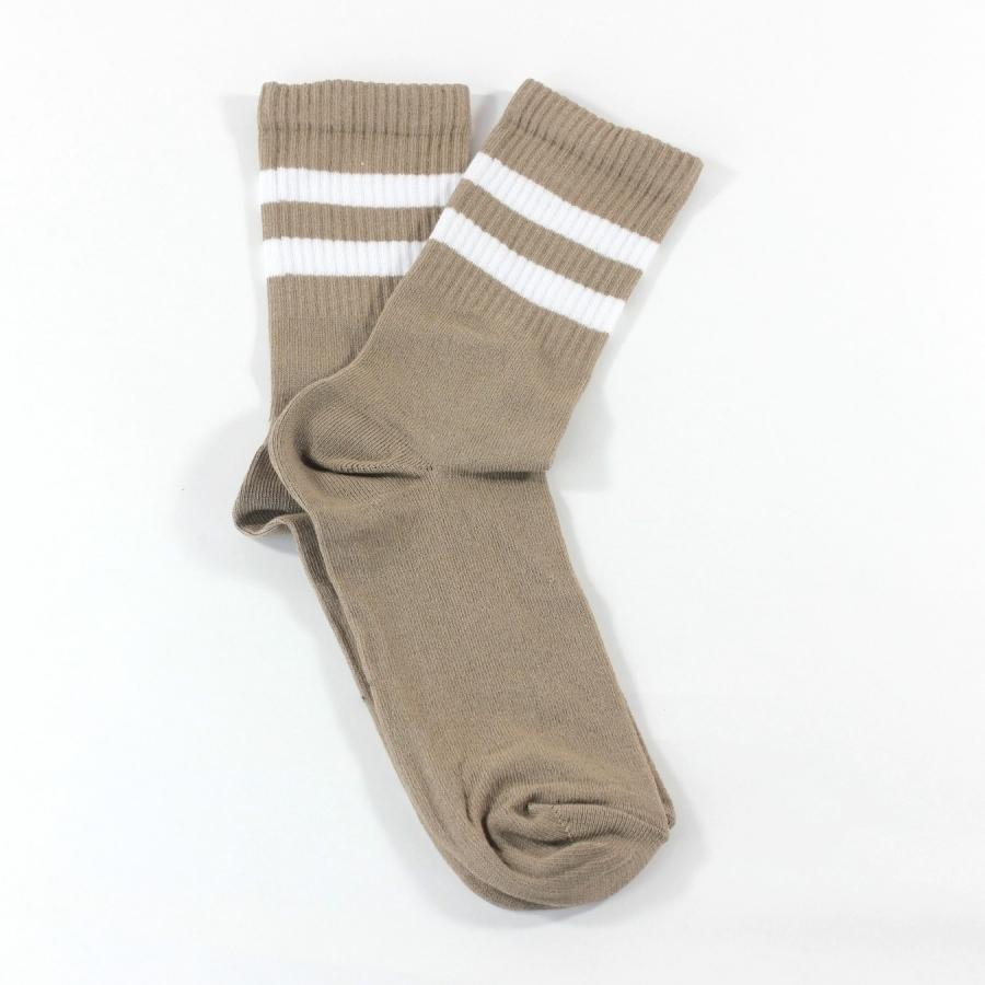 Sporty Beyaz Çizgili Kısa Koton Spor Çorap Bej
