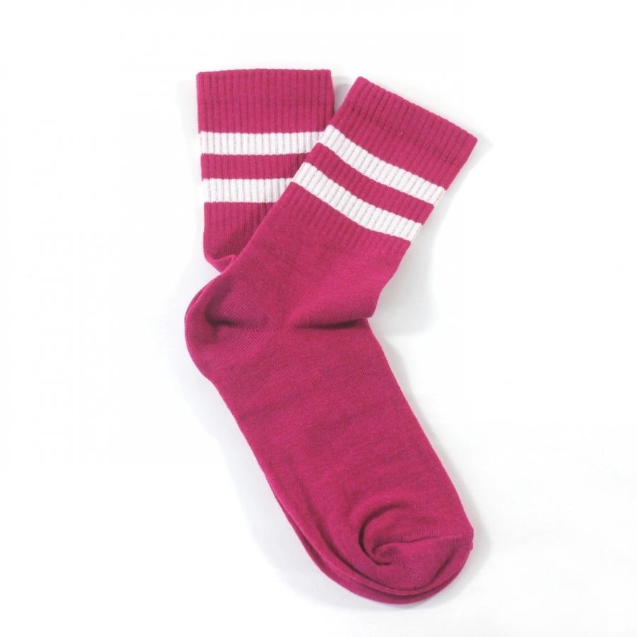 Sporty Beyaz Çizgili Kısa Koton Spor Çorap Koyu Pembe