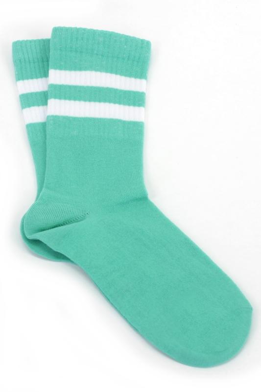 Sporty Beyaz Çizgili Kısa Koton Spor Çorap Mint Yeşili