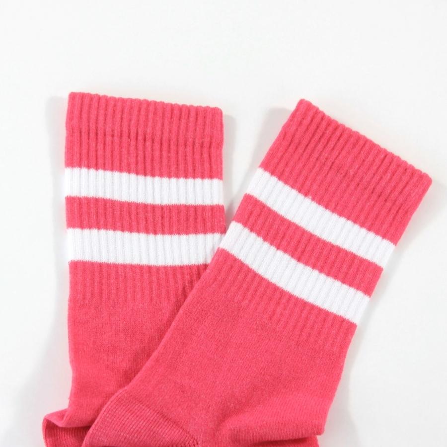 Sporty Beyaz Çizgili Kısa Koton Spor Çorap Nar Çiçeği