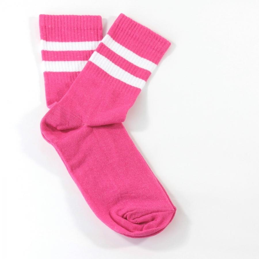Sporty Beyaz Çizgili Kısa Koton Spor Çorap Pembe