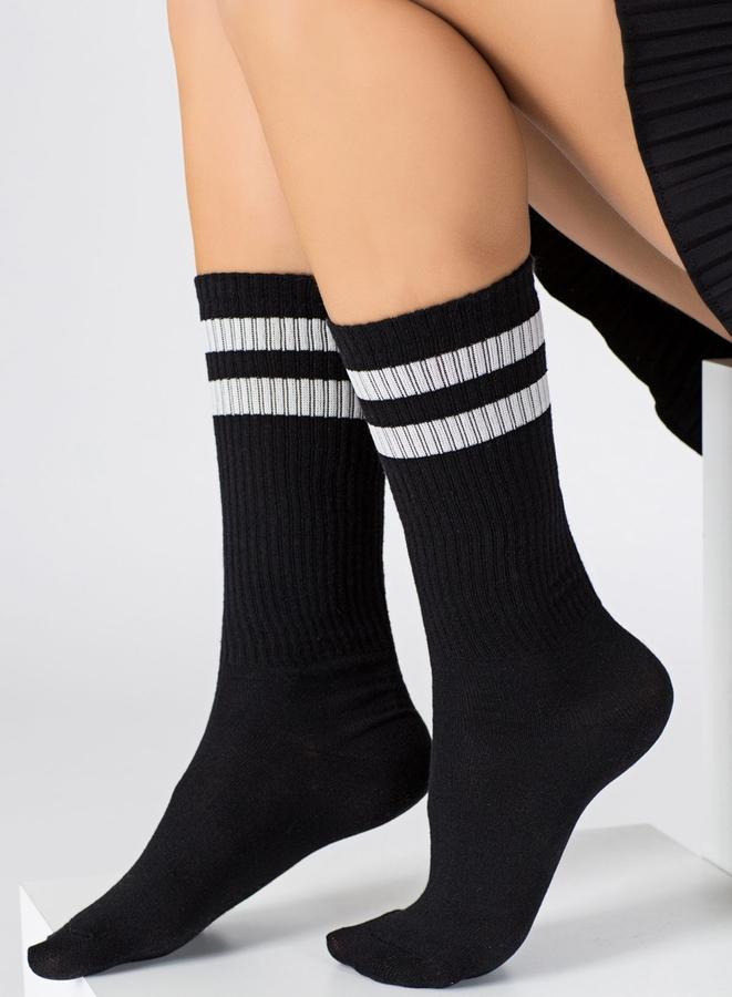 Sporty Beyaz Çizgili Kısa Koton Spor Çorap Siyah