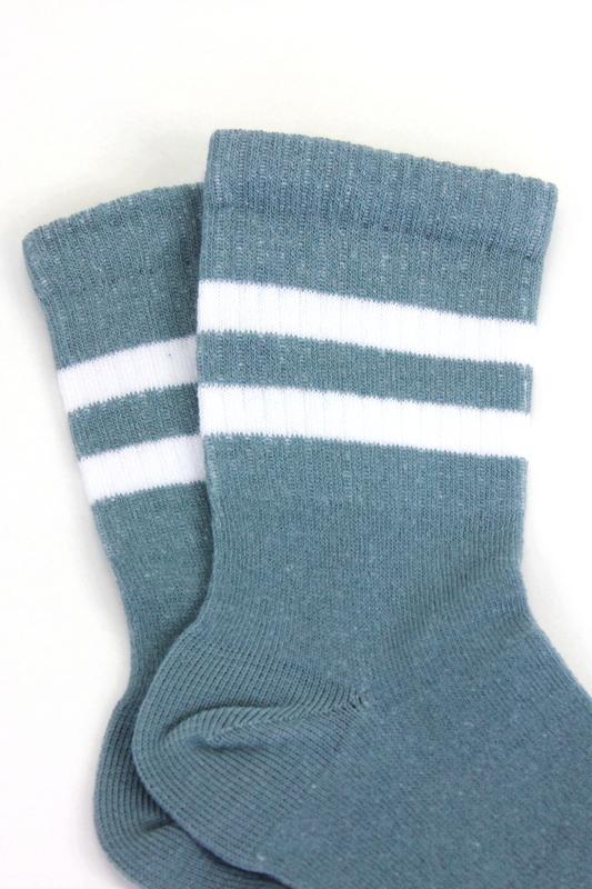 Sporty Beyaz Çizgili Pamuklu Kısa Çocuk Çorabı Gri