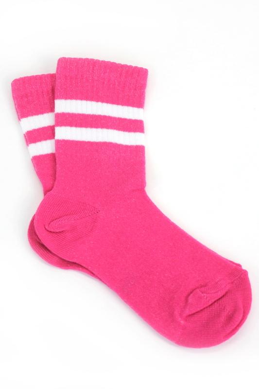 Sporty Beyaz Çizgili Pamuklu Kısa Çocuk Çorabı Koyu Pembe