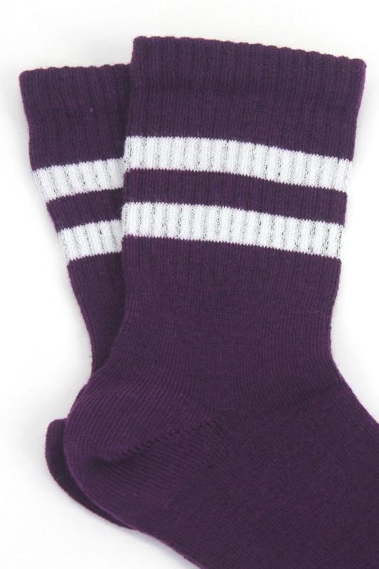 Sporty Beyaz Çizgili Pamuklu Kısa Çocuk Çorabı Mor