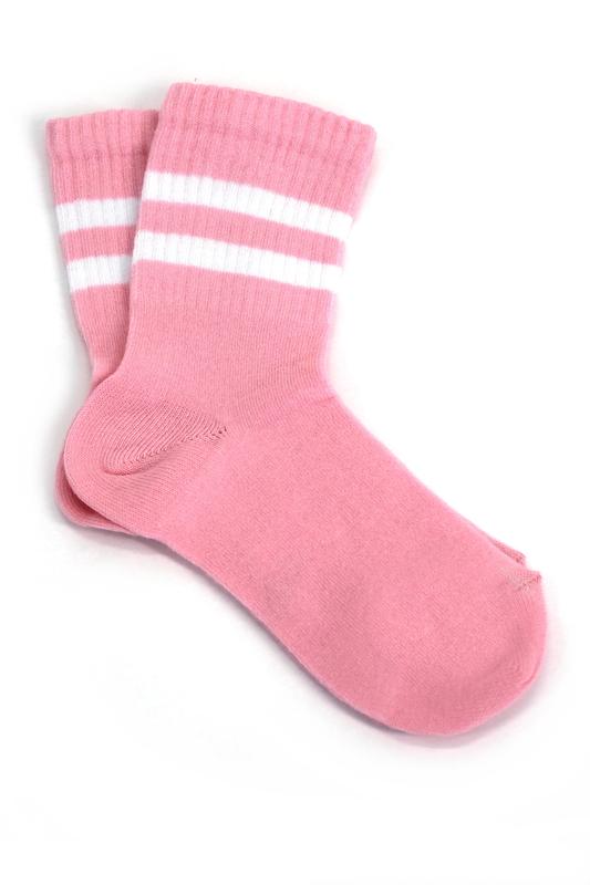 Sporty Beyaz Çizgili Pamuklu Kısa Çocuk Çorabı Pembe