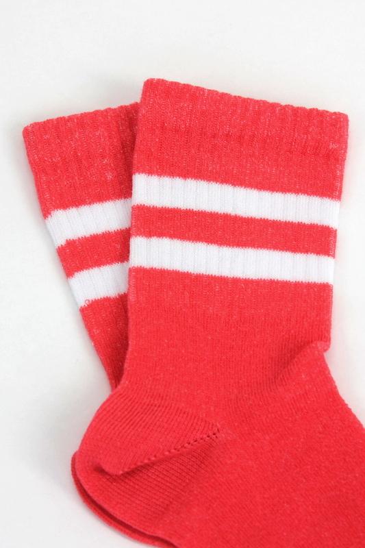 Sporty Beyaz Çizgili Pamuklu Kısa Çocuk Çorabı Turuncu