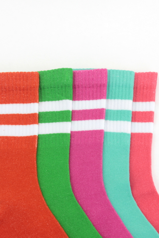Sporty Çizgili Kısa Koton Spor Çorap Renkli 5'li Paket
