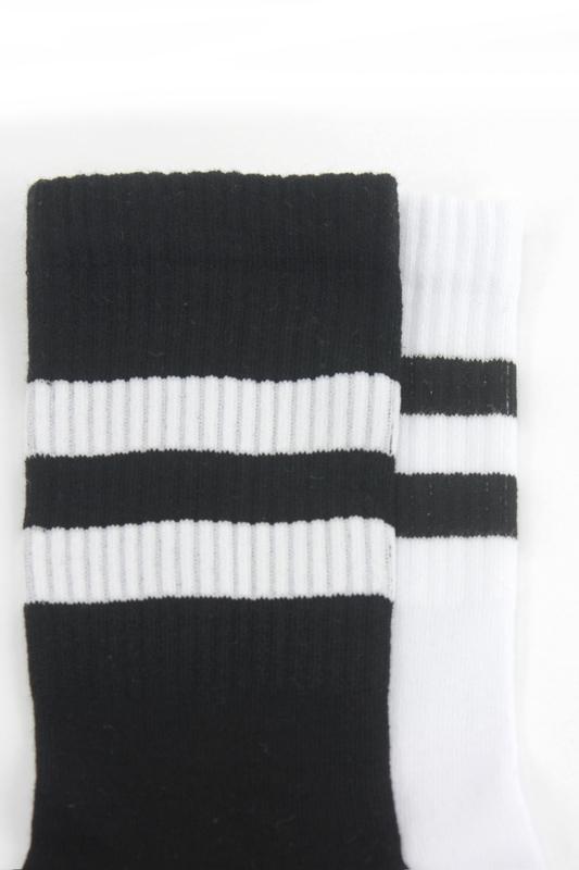 Sporty Çizgili Kısa Koton Spor Çorap Siyah Beyaz 2′li Paket