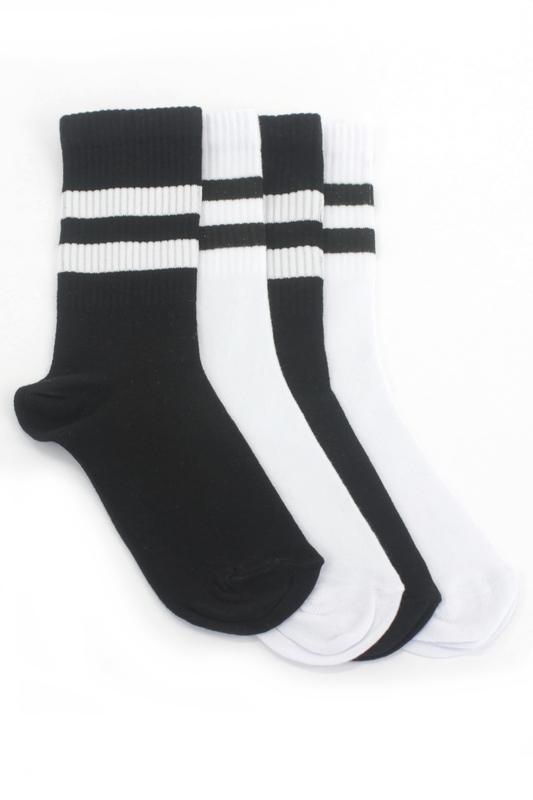 Sporty Çizgili Kısa Koton Spor Çorap Siyah Beyaz 4'lü Paket