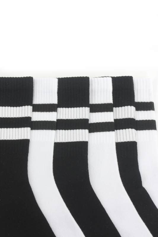Sporty Çizgili Kısa Koton Spor Çorap Siyah Beyaz 6'lı Paket