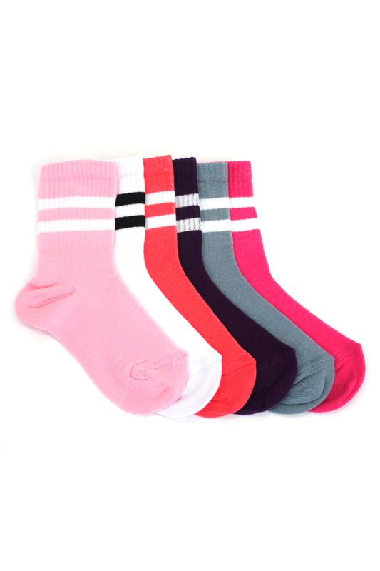 Sporty Çizgili Pamuklu Kısa Çocuk Çorabı Renkli 6'lı Paket