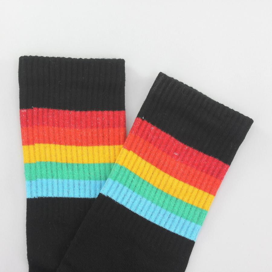 Sporty Renkli Çizgili Kısa Koton Spor Çorap Siyah