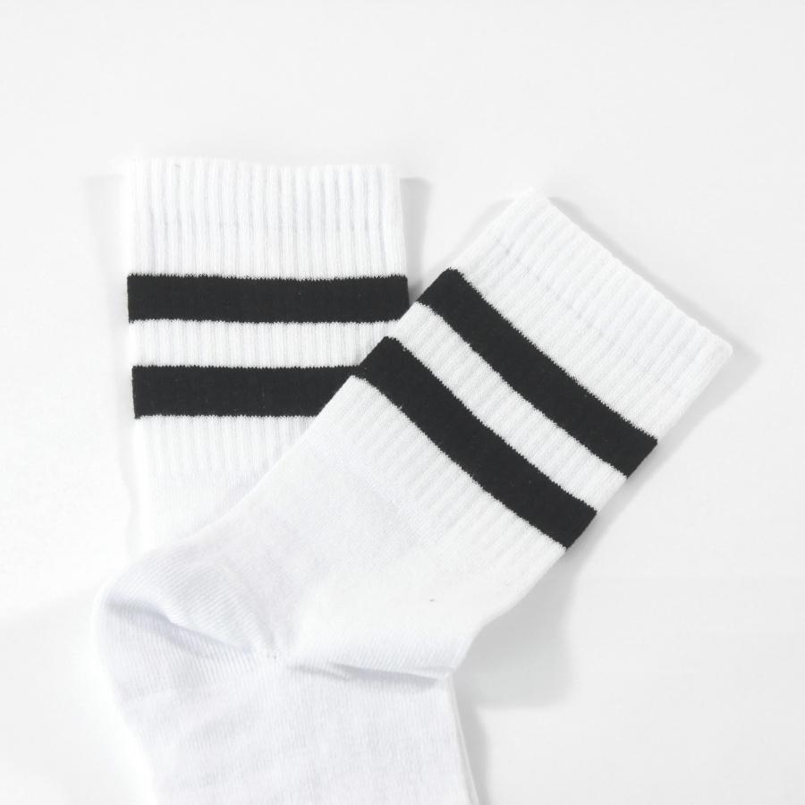 Sporty Siyah Çizgili Kısa Koton Spor Çorap Beyaz