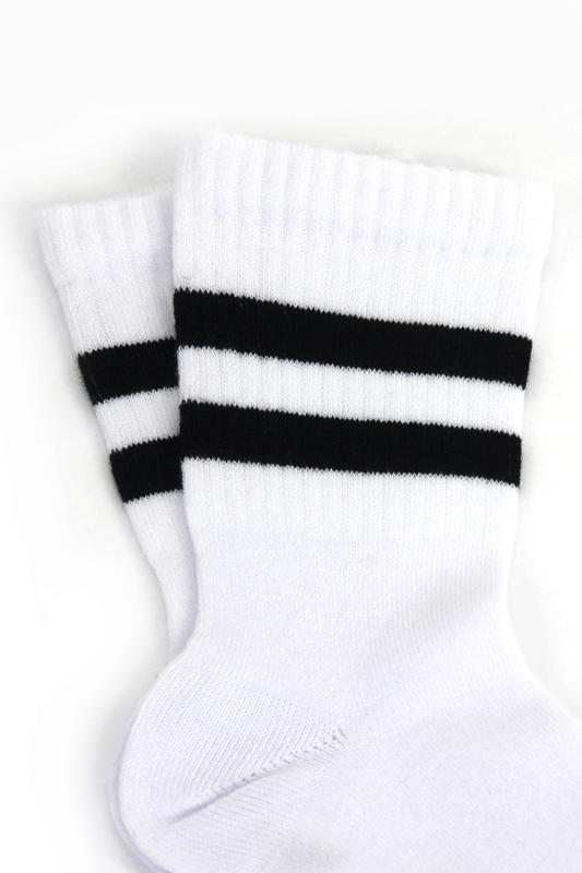 Sporty Siyah Çizgili Pamuklu Kısa Çocuk Çorabı Beyaz