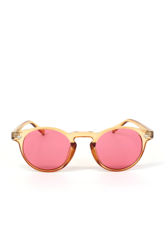 Sugar Pop Kırmızı Camlı Yuvarlak Kemik Çerçeveli Unisex Güneş Gözlüğü Turuncu