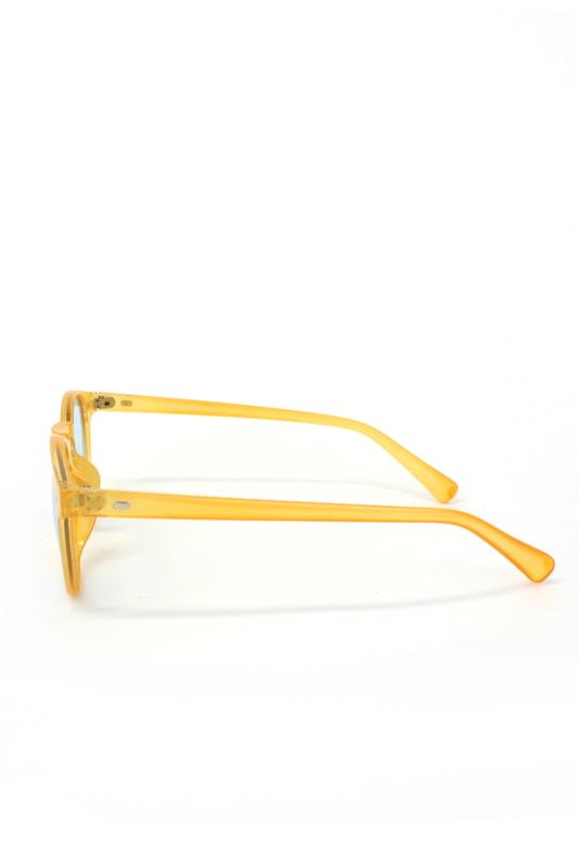 Sugar Pop Mavi Camlı Yuvarlak Kemik Çerçeveli Unisex Güneş Gözlüğü Turuncu