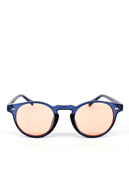 Sugar Pop Turuncu Camlı Yuvarlak Kemik Çerçeveli Unisex Güneş Gözlüğü Mavi