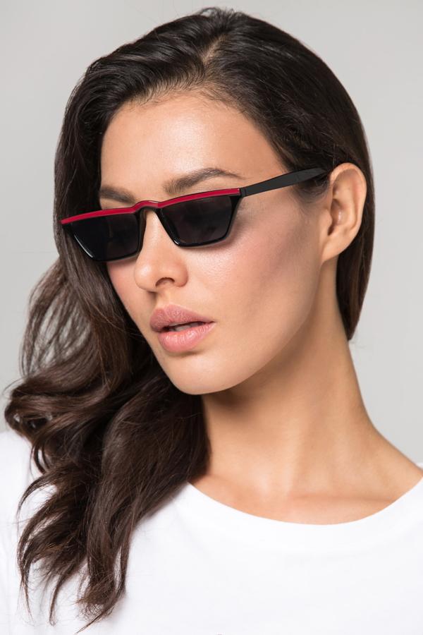 Summer Hot Cat Eye Köşeli Bayan Güneş Gözlüğü Kırmızı Çizgili Siyah