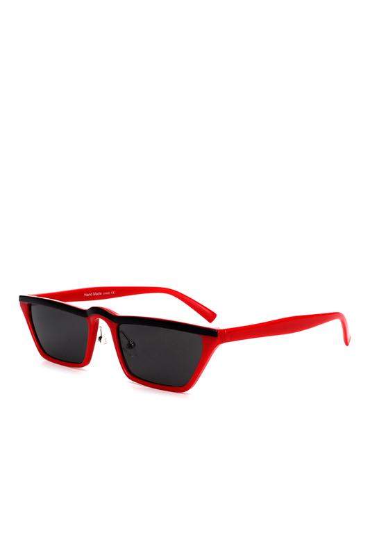 Summer Hot Cat Eye Köşeli Bayan Güneş Gözlüğü Siyah Çizgili Kırmızı