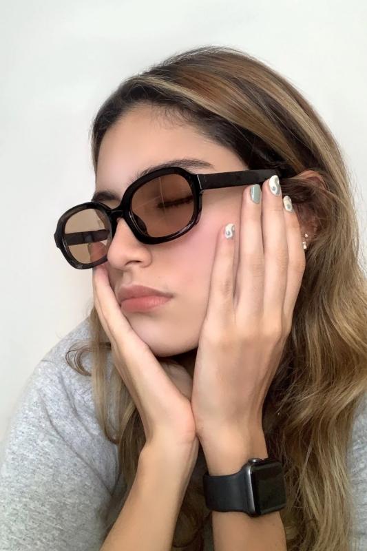 Talin Kahverengi Camlı Oval Bayan Güneş Gözlüğü Siyah