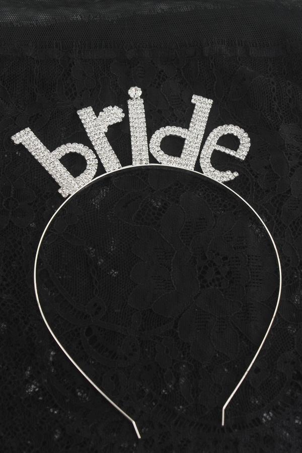 Taşlı Bride Yazılı Gelin Tacı Silver