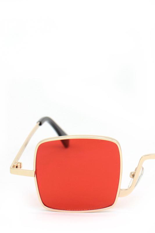 Tomorrowland Gold Metal Çerçeveli Küçük Kare Güneş Gözlüğü Kırmızı