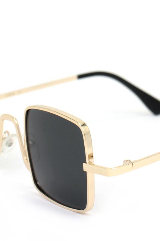 Tomorrowland Gold Metal Çerçeveli Küçük Kare Güneş Gözlüğü Siyah