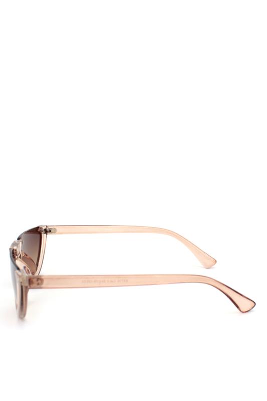True Love Yarım Çerçeveli Kahverengi Camlı Cat Eye Unisex Güneş Gözlüğü Bej