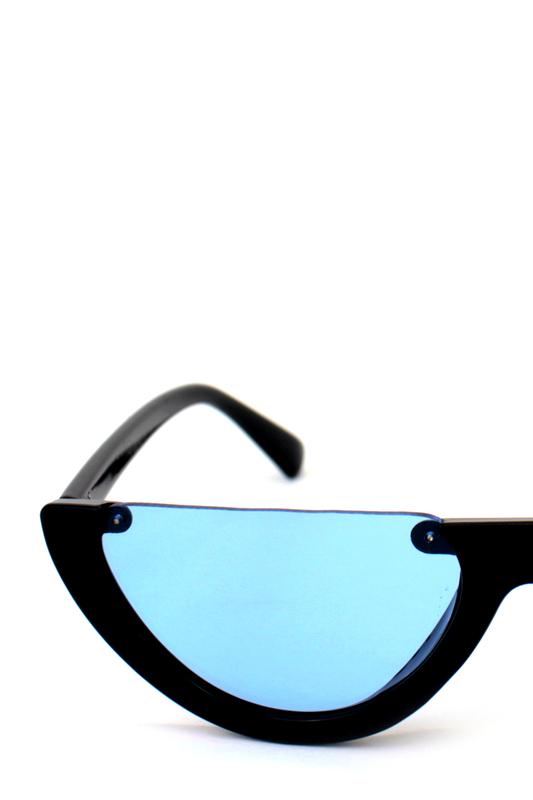 True Love Yarım Çerçeveli Mavi Camlı Cat Eye Unisex Güneş Gözlüğü Siyah
