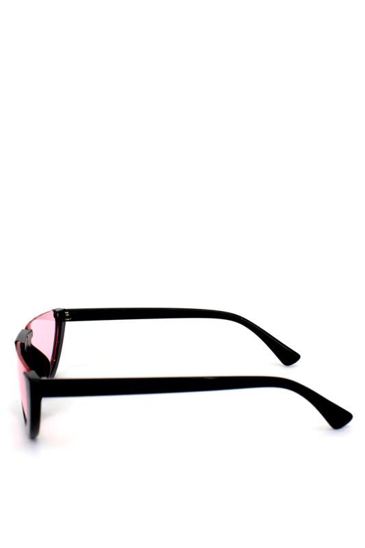 True Love Yarım Çerçeveli Pembe Camlı Cat Eye Unisex Güneş Gözlüğü Siyah